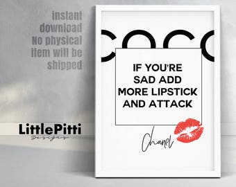 Lipstick print wall art, fashion poster, makeup room wall art decor, red lipstick quote poster, girls room art, divorce gift for her