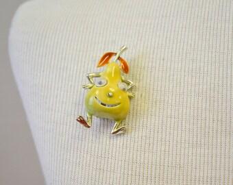 1960s Googly-Eye Pear Brooch