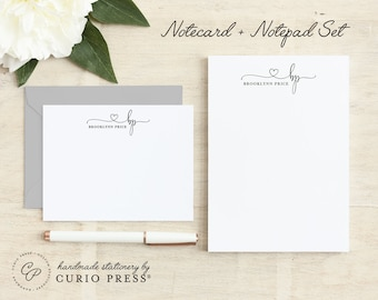 Personalized Stationery Set / Notecard and Notepad Stationary Set / Pretty Script Cards // PRECIOUS MONOGRAM 2-SET / Flat + Pad