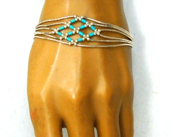 Faux Turquoise & Liquid Silver Tube Bead Bracelet, c. 1980s Probably Sterling but Untested