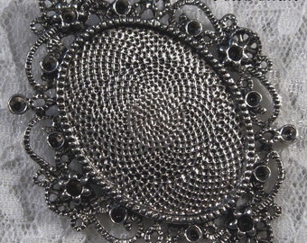 "40x30mm Antique Silver Setting - ""Enchantment II"" - 1 pc : sku 10.24.12.7 - R15"