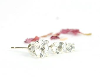 White topaz earrings, one pair sterling silver and white topaz studs, 3mm, 4mm, 6mm, clear gemstone earrings, April birthstone jewellery