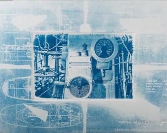 Cyanotype print, Wall Art Cyanotype Print, Sun print, Original Artwork, Blueprint, Sea, Handmade