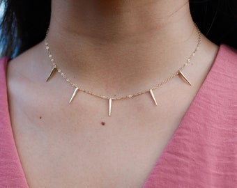 Minimalist Gold Spike Necklace - 14 karat gold fill chain with gold plated spikes