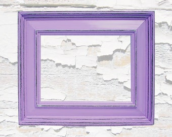 Shabby Chic Picture Frames Distressed Rustic Wood 5x7 Picture Frame Purple Lavender Custom Colors Home Decor Wall Art Photography
