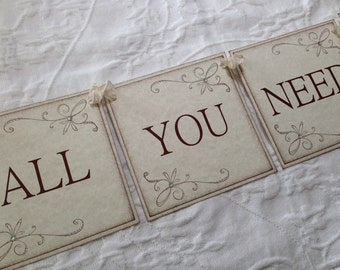 All You Need Is Love Banner - Bridal Shower Decor - Wedding
