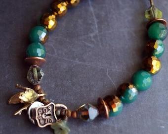 Unlisted - Cross Charm Bracelet - Emerald Agate Bracelet - Stone Boho Bracelet - FAITH - Keyhole - Bead Soup Jewelry