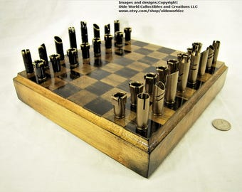 308 / 7.62 Bullet shell chess pieces and Optional Ash wood board #1020160016- Free Shipping to U.S.