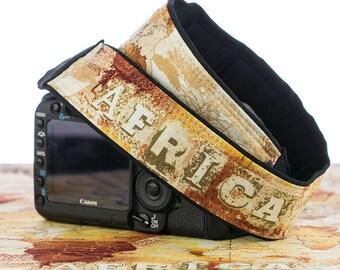 Camera Strap, Africa Safari Map, dSLR, Camera Neck Strap, Canon camera strap, Nikon camera strap, Men's, Women's, 292