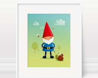 Garden gnome wall art - illustration print 5x7, 8x10 & 11x14