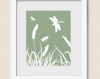 Dragonfly Wall Art 8 x 10 Nature Print, Living Room Decor, Grass Art Print, Green Home Decor (215)