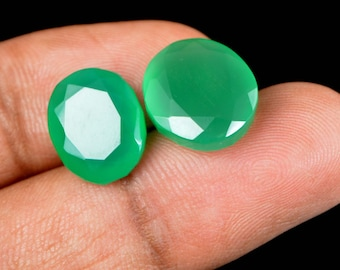 12 Ct Natural Oval Cut Green Onyx Emerald Loose Gemstone Matching Pair Christmas Gift
