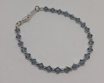 Indian Sapphire Swarovski Crystal and Steel Bracelet