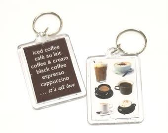 Coffee Lovers Key Chain / Keychain / Iced Coffee Keychain / Cafe au Lait Keychain/ Espresso Keychain / Cappuccino Keychain / Black Coffee