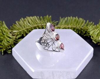 Faceted Triple Garnet Ring // Garnet Jewelry // Sterling Silver // Village Silversmith