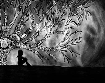 Watercolor/Sharpie Painting Print Printed Night Tree