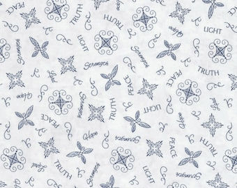 Timeless Treasures - Inspired Journey by Wing and A Prayer - Inspiration Words - Navy - Fabric by the Yard C5246-NVY