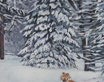 Rough Collie dog art CANVAS print of LA Shepard painting 8x10 winter scene
