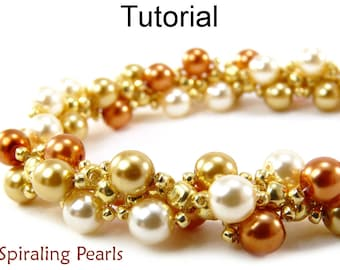 Beading Tutorial Pattern Bracelet Necklace - Spiral Stitch - Simple Bead Patterns - Spiraling Pearls #349