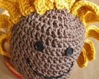 Sadie the Sunflower Hat   Crochet Pattern   Kid's Crochet Hat   Crochet Hat Pattern for Kids   Crochet Sunflower Hat Pattern   PDF Pattern