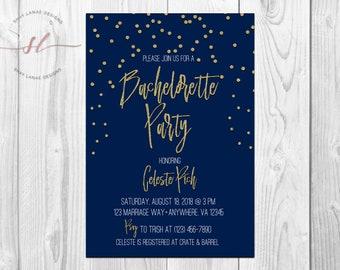 Bachelorette Party Invitation| Bachelorette Party| Gold Dots| Navy Blue| Wedding| Bridal