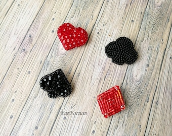 """Set of brooches """"Card suits"""" (dabdes)"""