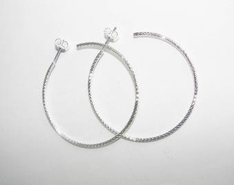 Diamond cut 40 mm hoop earrings. Money first. (7598568)
