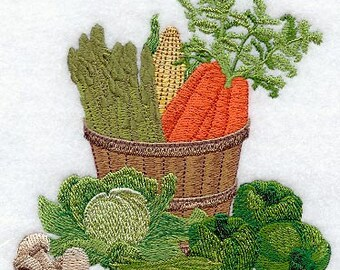 Country Veggie Basket Embroidered Flour Sack Hand/Dish Towel