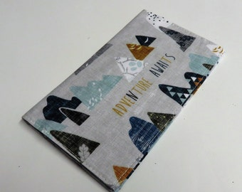 Checkbook Cover Case Cheque Coupons Money Holder - Adventure Awaits Fabric