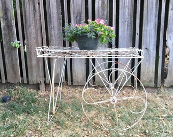 Vintage Flower Cart, White and Rusty Shabby Chic Yard Art