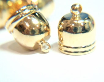 20) 10x12mm Gold END Caps / ring, Brass End Caps, glue on Cord Ends, Bead Caps, Brass Findings, Kumihimo End Caps, Viking Knit