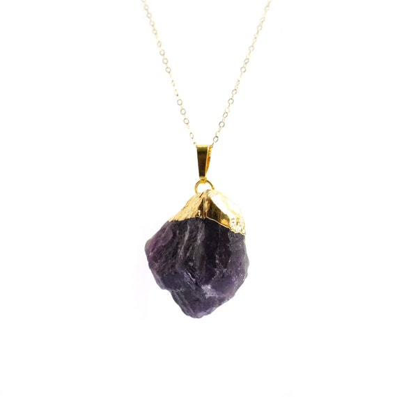 Raw Amethyst Necklace, Purple Amethyst Pendant, Gold Necklace, Amethyst Geode, Rough Amethyst, Gold Amethyst, 14k Gold Filled Chain