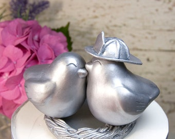 Firefighter Love Bird Wedding Cake Topper in Antique Silver