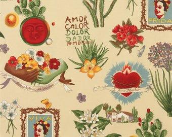 Viva Frida Parchment Folklorico Collection By Alexander Henry Fabrics, Frida Kahlo, Artist