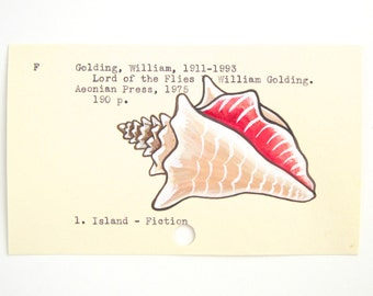 Lord of the Flies Library Card Art - Print of my painting of a shell on a library card catalog card