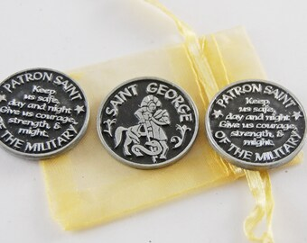 Set of 3 Saint George Patron of the Military Pocket Tokens with Organza Bag