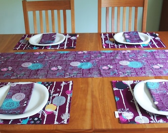 Woodland Table Runner with Birch Trees and Deer in Eggplant Plum, Purple Tablerunner, Summer Cabin Table Decor, Reversible, 14 x 84