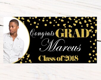 Class of 2018 Graduation Photo Banner ~ Congrats Grad Personalized Party Banners -School Colors Graduation Banner, Black Photo Grad Banner