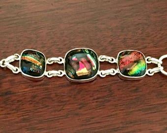 Dichroic Glass Sterling Silver 925 Bracelet