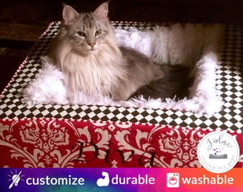 Luxury Cat Bed | Choose Your Fabrics & Size | Design Your Own Blanket Cat Bed