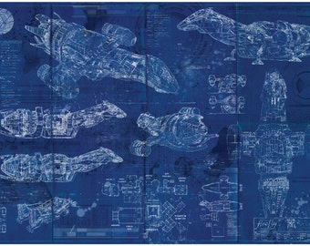 Blueprint art etsy firefly serenity blueprint art print malvernweather Image collections