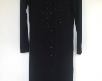 Vintage Carol Little Black Maxi Sweater / Duster / Beaded Sweater / Wool Sweater / Black Wool / Sweater / Retro