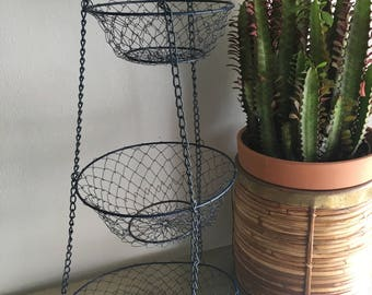 vintage hanging 3 tiered wire baskets navy blue rustic