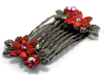 Hand Made Hair Jewelry Pair combs swarovski crystal flower pattern, Red(SO2098-rd)