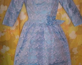50s, Lorrie Deb, Party Dress, 1950s, Blue dress, Designer dress, Blue Lace dress, Lorrie Deb Dress, size XS
