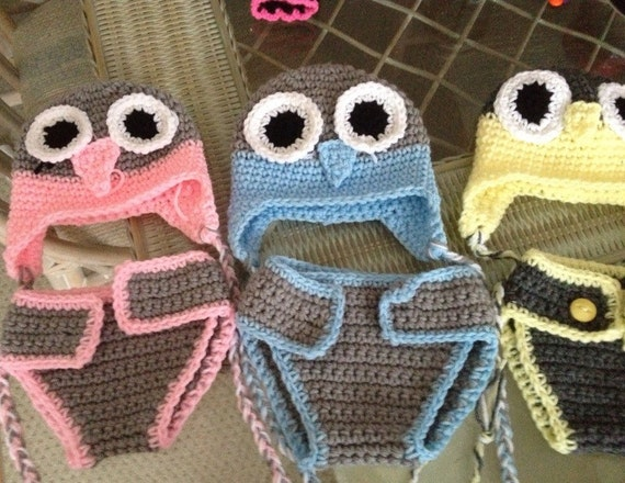 crocetes owl baby hat and diaper cover