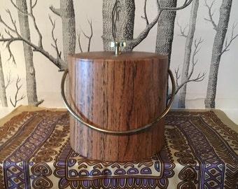 Vintage Faux Woodgrain Ice Bucket