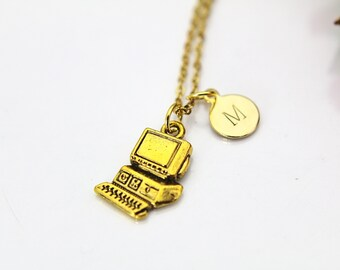 Computer Necklace, Gold Computer Charm, Programmer Necklace, Programer Gift, Personalized Gift, Best Friend Gift, Coworker Gift, N40