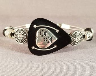 "Guitar pick and guitar string bracelet ""Paw Prints on My Heart"""