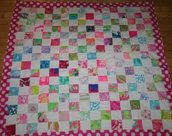 Made to order quilt made with rare Lilly Pulitzer fabrics